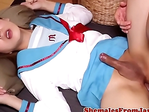 Uniformed japanese tgirl banged after blow job