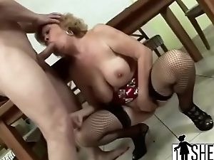 Cock hungry blonde granny munching in excess of long blarney lover while fingering her c-hi-1