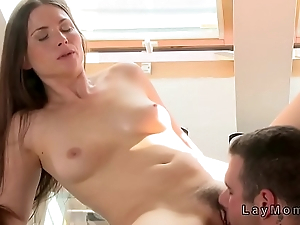 Hairy pussy Milf banged in dinning room