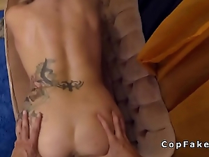 Tattooed blonde Milf bangs fake cop