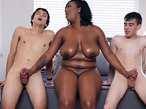 Negro Milf Layton Benton gives a photocopy handjob to Jordi El Nino Polla and Ricky Spanish -2