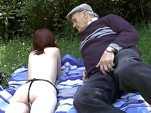 Pretty amateur juvenile french redhead banged by oldman voyeur outdoor