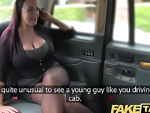 Fake Taxi Secretary looking lady with hefty tits and wet cunt